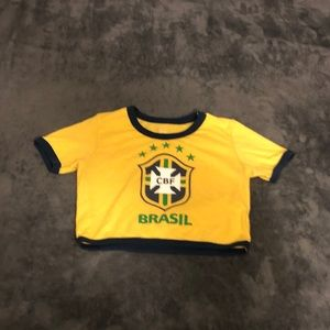 Yellow Brazil crop top shirt